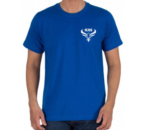 Embroidered Cotton Crew Neck T Shirt Royal Blue